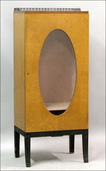 ART DECO BIRDSEYE MAPLE AND GLASS CABINET.