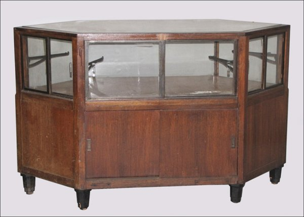 ART DECO OAK AND GLASS DISPLAY CASE.