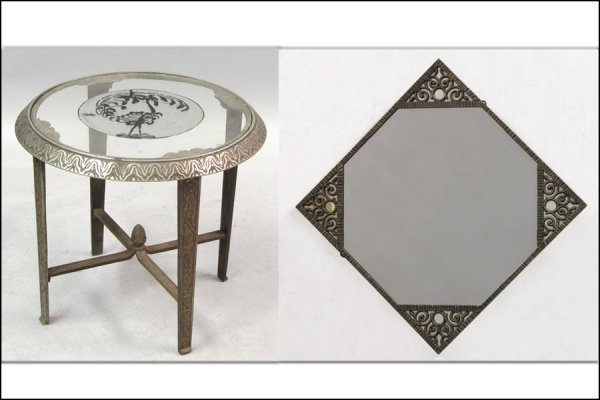 AMERICAN ART DECO WROUGHT IRON AND GLASS SIDE TABLE AN