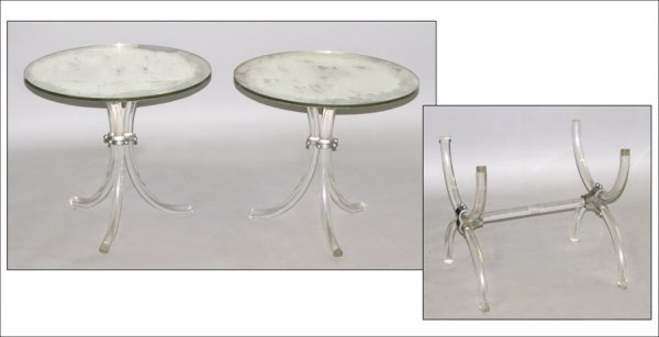 PAIR OF LUCITE TABLES.