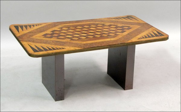ARTS AND CRAFTS INLAID GAMES TABLE.