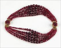 COPPOLA E TOPPO RED GRADUATED FIVESTRAND FACETED BEAD
