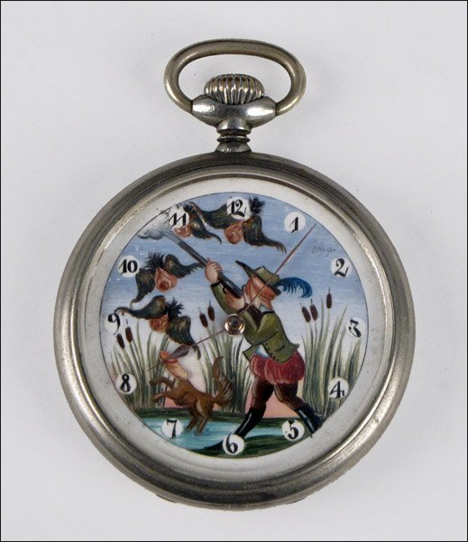 VINTAGE DOXA POCKET WATCH, 1906, HUNTER'S THEME.