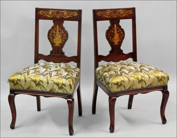 791007: FOUR DUTCH MARQUETRY SIDE CHAIRS.