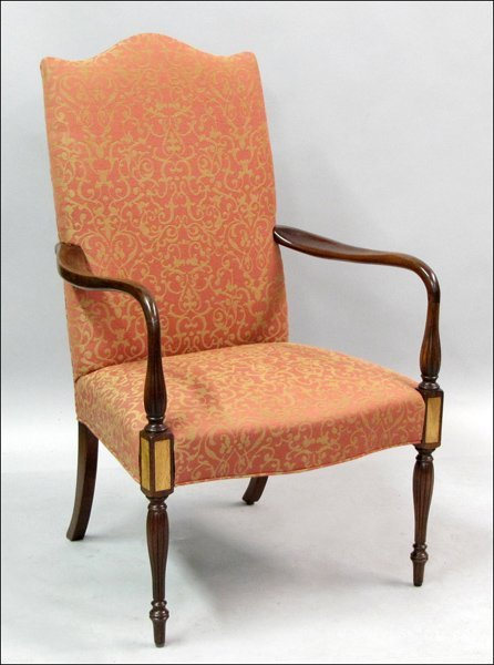 791008: CHIPPENDALE STYLE INLAID MAHOGANY AND UPHOLSTER
