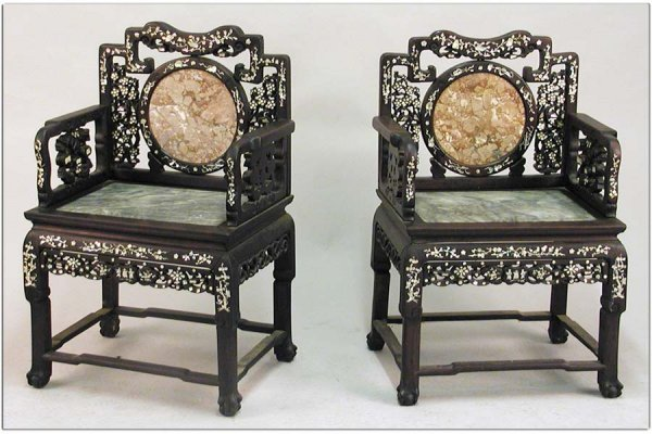 791009: PAIR OF ASIAN CARVED ROSEWOOD AND MARBLE ARMCHA