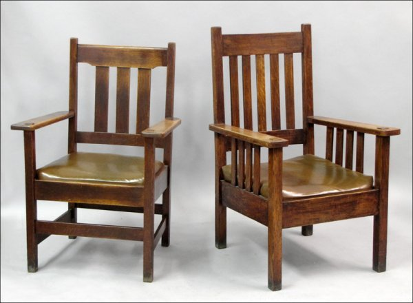 791014: TWO STICKLEY BROTHERS MISSION OAK ARMCHAIRS.