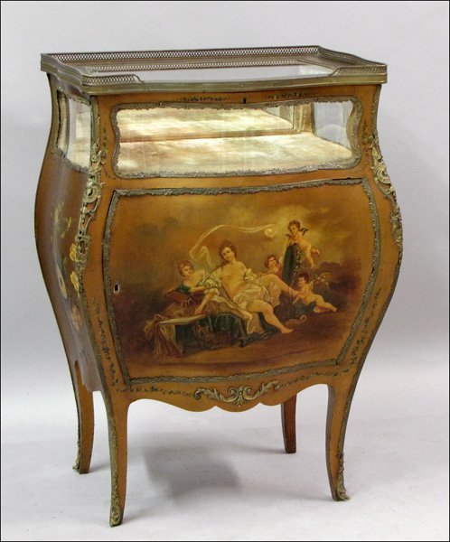 791015: FRENCH MOUNTED SERPENTINE FRONT MUSIC CABINET W