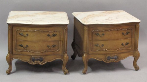 791020: PAIR OF WEIMAN FRENCH PROVINCIAL STYLE MARBLE T