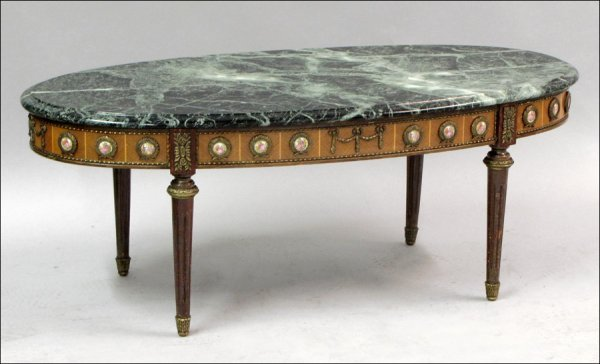 791028: LOUIS XVI STYLE MARBLE TOP COCKTAIL TABLE.