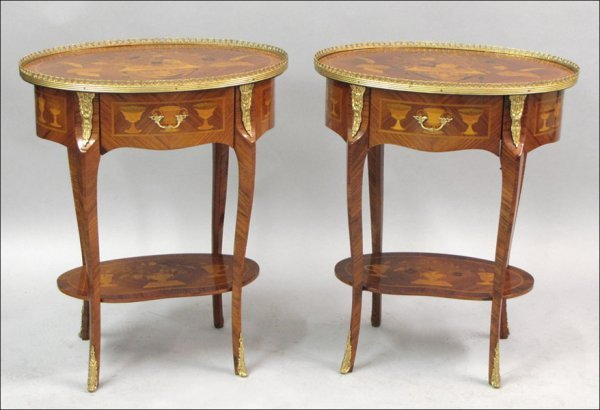 791029: PAIR OF LOUIS XV STYLE MARQUETRY INLAID AND ORM