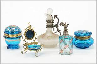 Victorian Blue Glass and Enamel Dresser Items.
