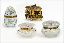 Victorian Glass Dresser Jars and Gilt Metal Jewelry