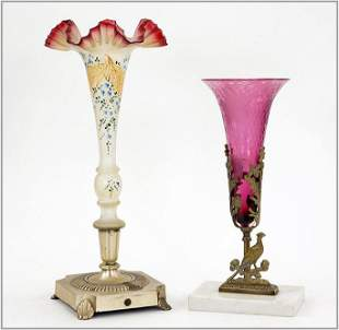 Two Trumpet Form Victorian Glass Vases.