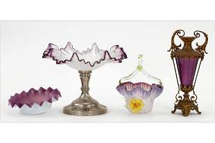 Victorian Amethyst Glass Compote and Vases.
