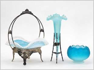 Victorian Barbour Blue Cased Glass Brides Basket.
