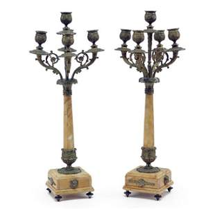 A Pair of Gilt Bronze and Marble Five-Light Candelabra.