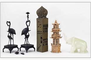 A Pair of Japanese Bronze Crane Candlestcks.