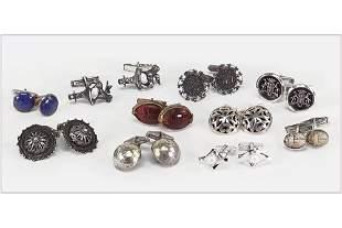 Ten Pairs of Sterling Silver Cufflinks.