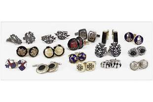Six Pairs of Sterling Silver Cufflinks.