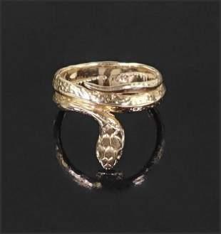 A 14 Karat Yellow Gold Snake Ring.