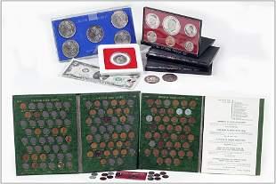 Five Morgan Silver Dollars and Various Coinage.
