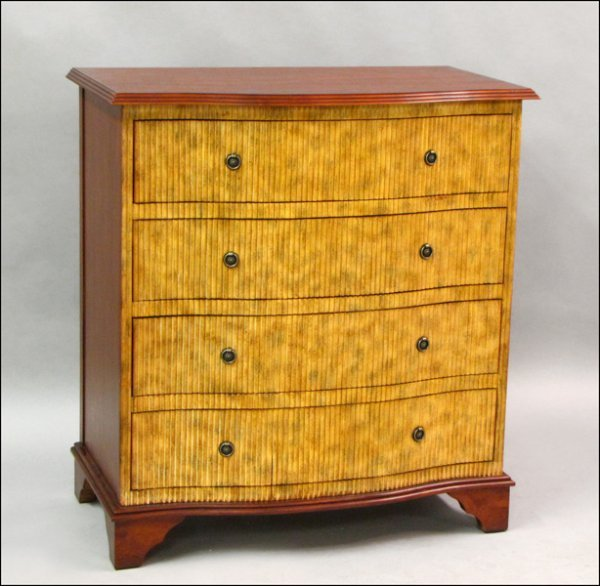 801002: MAHOGANY FOUR DRAWER CHEST WITH A REEDED FRONT.