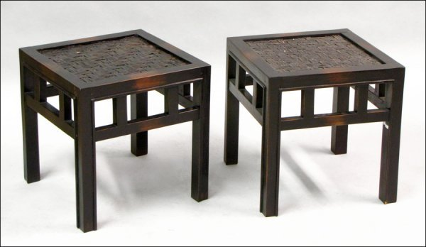 801003: PAIR OF EBONIZED WOOD SIDE TABLES WITH WOVEN BA
