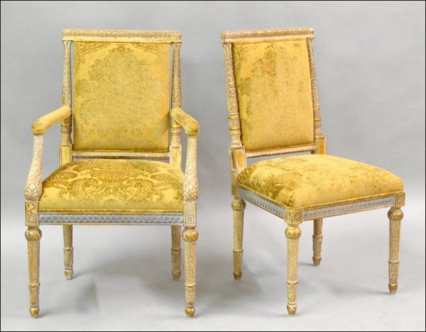 801006: TWO CONTEMPORARY GILT AND UPHOLSTERED CHAIRS.