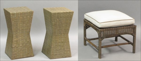 801009: PAIR OF WOVEN REED AND WOOD SIDE TABLES.