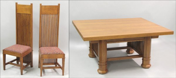 801014: BEXLEY HEATH OAK DINING TABLE AND EIGHT CHAIRS.