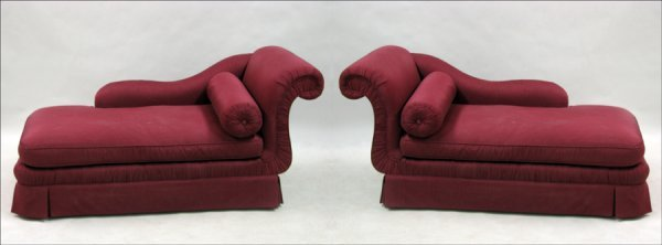 801015: PAIR OF CONTEMPORARY UPHOLSTERED CHAISE LOUNGES