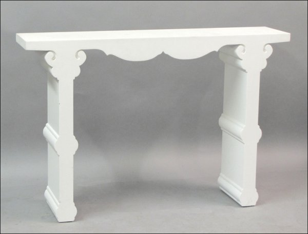 801016: PAINTED AND SCROLLED WOOD CONSOLE TABLE.