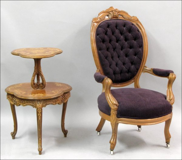 801017: VICTORIAN OPEN ARM CHAIR.