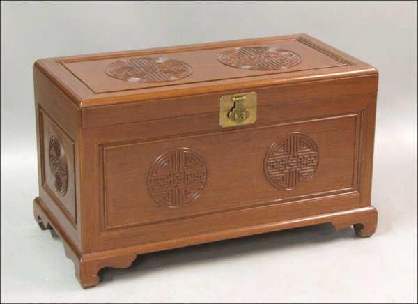 801023: CHINESE CEDAR-LINED MAHOGANY BLANKET CHEST.