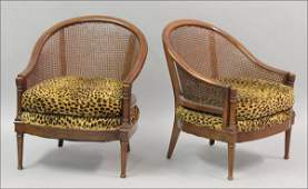 801064 PAIR OF MAHOGANY CANED BACK ARMCHAIRS