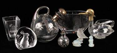 802052: STERLING SILVER OVERLAY DECANTER AND PERFUME BO