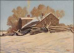 806100: PAUL STRAYER (AMERICAN 1885-1981) CABIN IN WINT