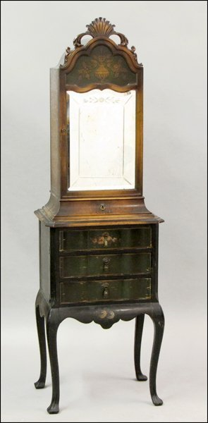 PAINTED WOOD SMOKING CABINET.