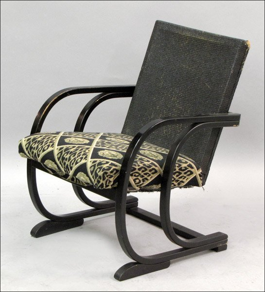 THONET BLACK PAINTED AND CANED ARM CHAIR.