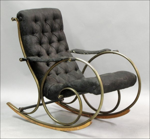 FRENCH METAL ROCKING CHAIR.