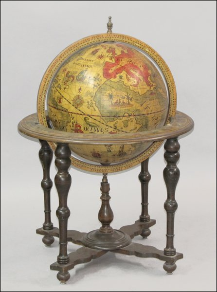 DECORATIVE PICTORIAL GLOBE ON TURNED MAHOGANY STAND.