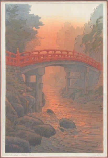 YUHAN ITO (JAPANESE, 1882-1951) RED BRIDGE, NIKKO.