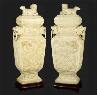 A Pair of Monumental Chinese Bone Veneer Decorative