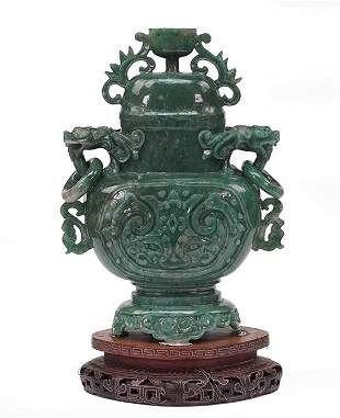 A Chinese Carved Jade Covered Urn.
