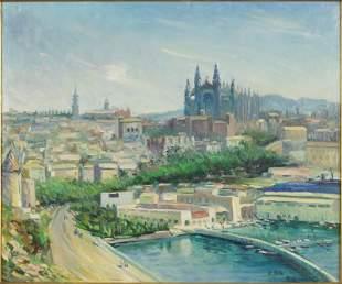 Ragnar Falk (Swedish, 1903-1977) Mediterranean Port.