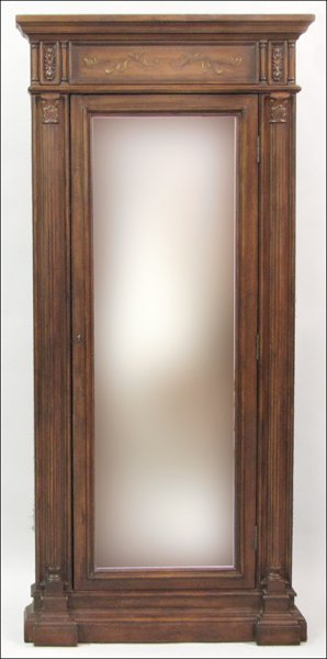 821006: MAHOGANY FULL-LENGTH DRESSING MIRROR.