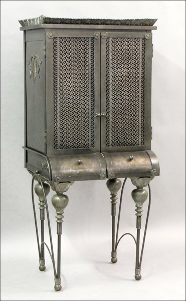 821009: CONTEMPORARY MIXED-METAL HIGHBOY.