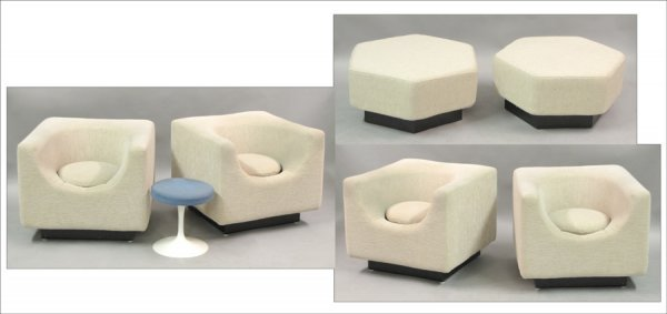 821011: SET OF FOUR CONTEMPORARY UPHOLSTERED BARREL-BAC