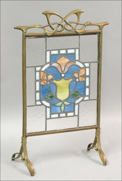821015: ARTS AND CRAFTS BRONZE OVERLAY AND STAINED GLAS